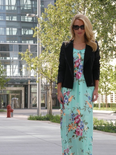 Dress: Stella Rae's, Studded Jacket: Stella Rae's, Rings: ASOS, Sunglasses: Fendi, Shoes: Aldo, Necklace: gifted, Nails: Essie Ladylike