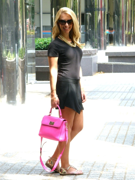 Skort: Stella Rae's, Top: J.Crw, Bag: Kate Spade, Sandals: Zigi Girl, Necklaces: Max & Chloe,  Obaz Pinterest find, Ring: David Yurman