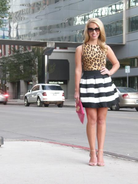 Top: Zara, Skirt: Stella Rae's Norman, Clutch: Tory Burch, Heels: Steve Madden, Necklace: Max & Chloe, Rings: David Yurman, Sunglasses: Fendi