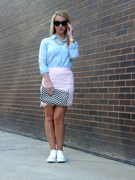 Top: J.Crew, Skirt: Forever 21, Shoes: Converse, Sunglasses: John Randolph, Necklace: H&M, Rings: David Yurman, C.Wonder, Watch: Michael Kors