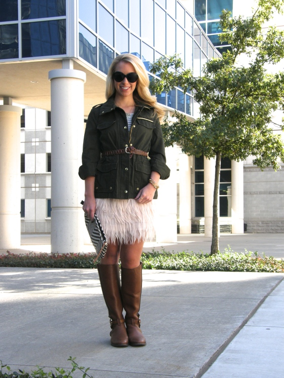 Skirt: Shoptiques, Top: J.Crew, Jacket: H&M, Sunglasses: John Randolph, Belt: Vintage, Boots: Tory Burch, Necklace: Max and Chloe, Bracelets: , Nails: Nails INC -