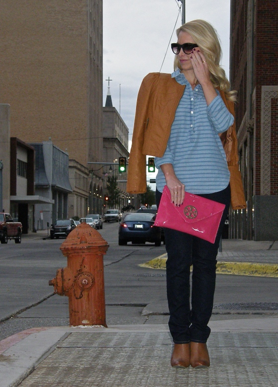 Top: J.Crew, Jeans: Gap, Clutch: Tory Burch, Jacket: Stella Rae's, Sunglasses: Elizabeth and James, Booties: Forever 21, Necklace: Dallas Flea
