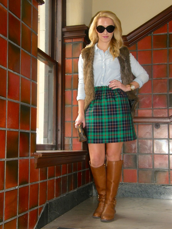 Top: J.Crew, Skirt: J.Crew, Vest: Stella Rae's, Boots: Tory Burch, Watch: Michael Kors, Rings: C.Wonder, David Yurman, Necklace: Max & Chloe