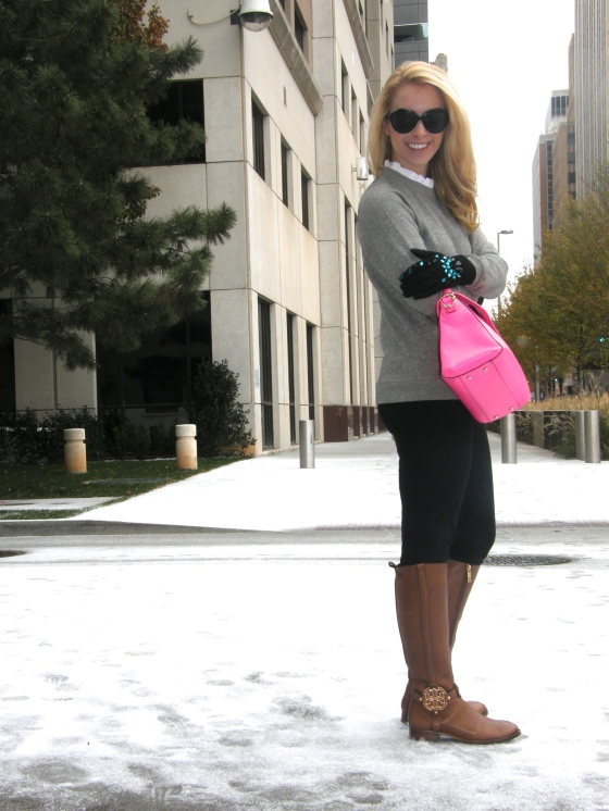 Top: J.Crew, Pants: J.Crew, Boots: Tory Burch, Bag: Kate Spade, Sunglasses: Johnathan Randolph, Gloves: H&M