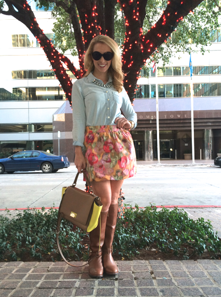 Top: J.Crew, Skirt: J.Crew, Boots: Tory Burch, Bag: Kate Spade, Sunglasses: John Randolph, Necklace: Zara, Rings: David Yurman, Bracelets: J.Crew, Playa Del Carmen Straw Market find, Gift