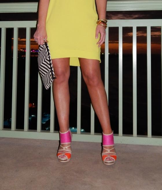 Dress: Top Shop, Heels: BCBG, Bag: , Necklace: Neiman Marcus,