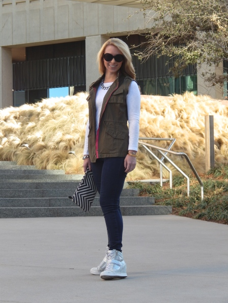 Top: J.Crew, Vest: Forever 21, Jeans: Joe's, Shoes: Kohl's, Necklace: Zara, Bracelets: Urban Outfitters, Anthropologie, J.Crew, C. Wonder, Ring: David Yurman