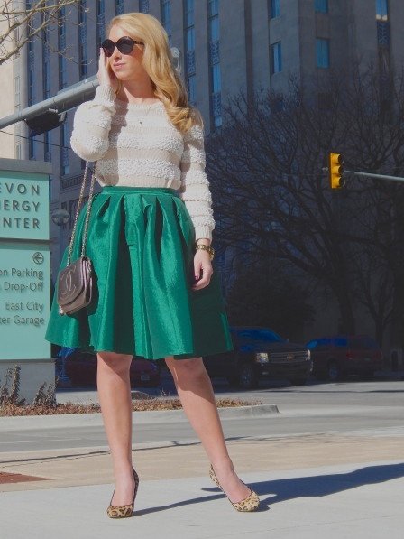 Sweater: BCBG, Skirt: Chic Wish, Heels: Steve Madden, Necklace: Gifted, Bag: Vintage Chanel,