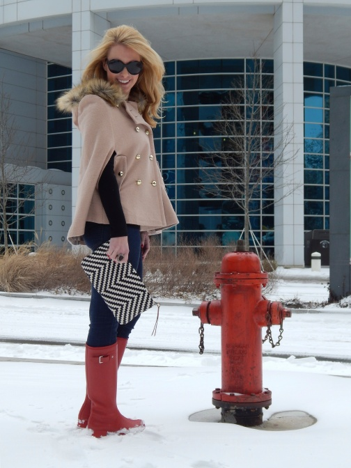 Top: J.Crew, Cape: Sheinside, Jeans: Joe's, Boots: Hunter, Bag: Necklace: Anthropologie, Ring: Beyond Baroque