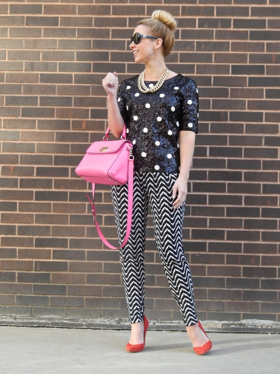 Top: J.Crew, Pants: Dillard's, Shoes: Zara, Bag: Kate Spade, Necklace: