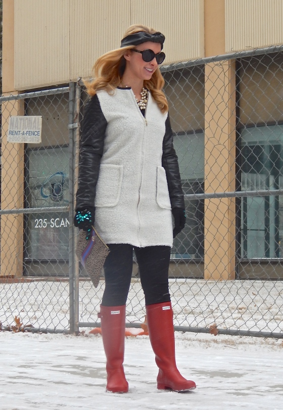 Coat: Dillard's (Kensie), Pants: J.Crew, Boots: Hunter, Gloves: H&M, Turban Headband: The Hairess, Necklaces: Both J.Crew