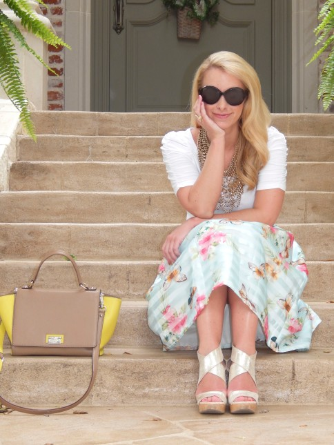 Top:: Forever 21, Skirt:: Chic Wish, Shoes:: DVF, Necklace:: Bauble Bar, Ring:: Lulu Frost, Bag:: Kate Spade