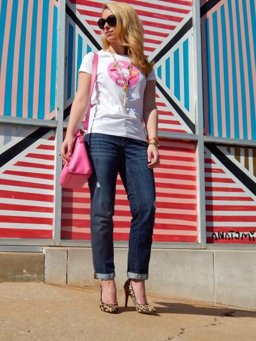 Top: Kate Spade, Jeans: Gap, Bag: Kate Spade, Heels: Aldo, Necklace: Neiman Marcus, Rings: David Yurman, mom find, Bracelets: C. Wonder, Anthropologie, Coach