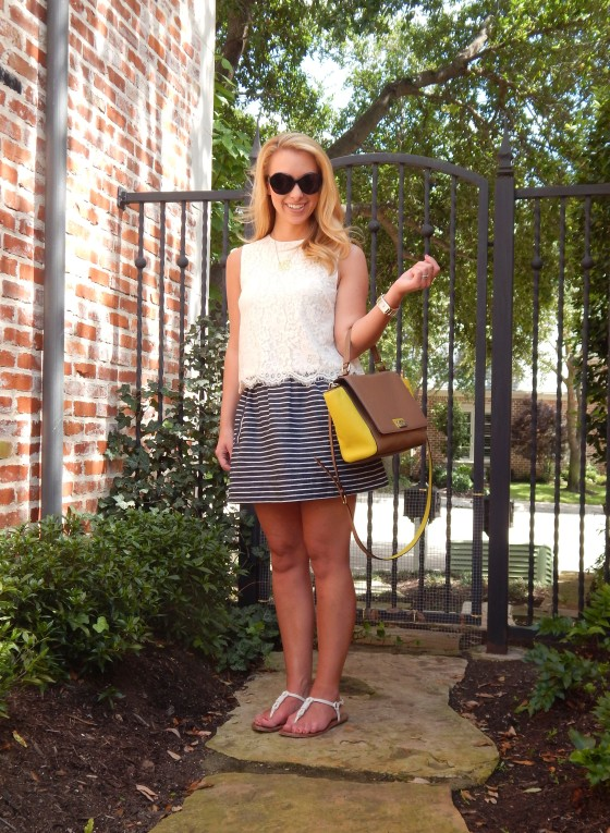 Top:: H&M, Skirt:: J.Crew Factory, Bag:: Kate Spade, Sandals:: Coach (old), Necklace:: Max & Chloe, Watch:: Anthropologie, Ring:: Lulu Frost
